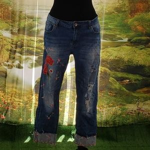 Custom Order Rose Vine Applique Jeans